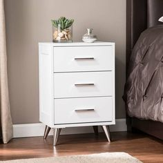 Shop Carson Carrington Narva Mid-century Modern Storage Nightstand - Overstock - 25446841 - White Bedroom Furniture Stores, Furniture Deals, Living Room Furniture, Tall Nightstands, White Nightstand, Tall Bedside Tables, Guest Bedrooms, Master Bedroom, Living Room Chairs