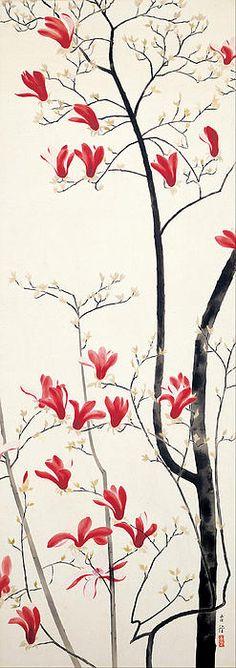 小林古径 Kobayashi Kokei  ( 1883 - 1957 ) Magnolia Tree #Illustration #Painting #Magnolia