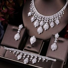 US $58.80  51% Off   Bridal Jewelry Sets Wedding Necklace Earrings Accessories Cubic Zirconia Flower For Women Janekelly Water Drop Trendy Copper Princess Cut Diamond Earrings, Diamond Necklace Set, Princess Jewelry, Fancy Jewellery, Wedding Jewelry Sets, Luxury Jewelry, Wedding Veils, Bridal Headpieces, Wedding Hair