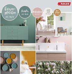 Die ADLER Trendfarben 2019 stehen für ein harmonisches Wohlfühl-Zuhause. Auch dieses Jahr ist geprägt von einer starken Sehnsucht nach Natürlichkeit und Entschleunigung.Grün ist und bleibt dabei eine der Must-Have Farben im Interior-Bereich. Es dominieren softe Grüntöne in allen Facetten! Trends, Accent Colors, Bathroom Lighting, Favorite Color, Mirror, Elegant, Furniture, Home Decor, Wall Paint Colors