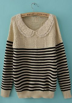 Black Lace Lapel Long Sleeve Striped Pullovers Sweater