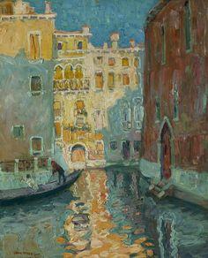 """""""Sunlit Canal, Venice,"""" Jane Peterson, oil on canvas, 30 × 23 15/16"""", Questroyal Fine Art"""