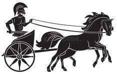 Illustration about Roman warrior in a chariot pulled by two horses . Black and white illustration. Illustration of cart, gladiator, greek - 61573756 Black And White Art Drawing, Black And White Illustration, Ancient Greek Art, Ancient History, Roman Chariot, Greek Soldier, Roman Warriors, Shield Design, Illustrations