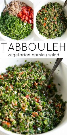 This traditional Lebanese Tabbouleh Recipe (or Tabouli Salad) is a fresh and delicious vegetarian salad made with finely chopped parsley, mint, tomatoes, lemon juice, and soaked bulgur wheat. Tabouli Salad Recipe, Bulgur Salad, Lentil Salad, Vegetarian Recipes, Healthy Recipes, Salad Recipes Vegan, Vegan Vegetarian, Bulgur Recipes, Couscous Salad Recipes