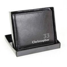 Personalised Black Leather Wallet - Birthday Personalized Leather Wallet, Leather Wallets, Black Leather, Product Description, Birthday, Fashion, Moda, Fashion Styles, Leather Purses