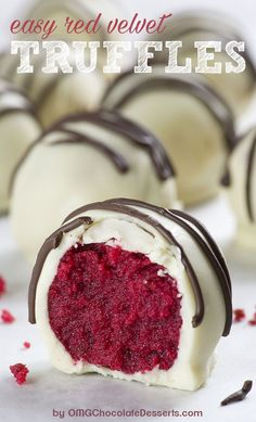 Red Velvet Truffles are bites of red velvet cake rolled up and dipped in white chocolate. Red Velvet Truffles are bites of red velvet cake rolled up and dipped in white chocolate. Ingredients box red velvet cake mix (plus ingredients listed… Red Velvet Truffles, Red Velvet Cake Mix, Red Velvet Desserts, Red Velvet Brownies, White Chocolate Truffles, Red Velvet Cakeballs, Chocolate Cake, Red Velvet Wedding Cake, White Chocolate Desserts