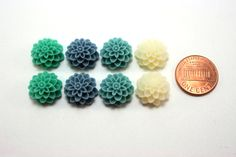 8 pcs Resin Flower Cabochons - 15mm Dahlia - Teal Appeal Mix Assorted Colors. $3.20, via Etsy.