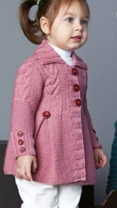 64 Ideas Crochet Cardigan Pattern Kids Sweater Coats For 2019 Knit Baby Sweaters, Knitted Baby Clothes, Girls Sweaters, Sweater Coats, Knitting For Kids, Baby Knitting Patterns, Baby Patterns, Crochet Baby Jacket, Crochet Cardigan Pattern
