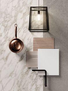 Interior Design Boards, Moodboard Interior Design, Material Board, Calacatta, Colour Board, Colour Schemes, Colorful Interiors, Mood Boards, Interior And Exterior