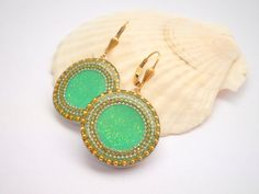 Green Silver earrings Sterling silver earrings short by hilawelner,