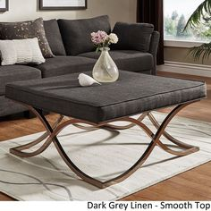 Solene X Base Square Ottoman Coffee Table - Champagne Gold by iNSPIRE Q Bold ([Dark Grey Linen]- Smooth Top), Black, Size Large (Fabric)