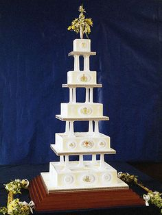 1986.  Prince Andrew and Sarah Fergason served a marzipan and rum-soaked cake at their wedding. The cake was big enough to serve 2,000 slices.