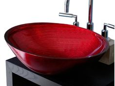 Red Glass Vessel Sink - Rosso Veneziano By Boxart - DigsDigs Glass Bathroom Sink, Bathroom Sink Design, Modern Bathroom Sink, Bathroom Red, Glass Vessel Sinks, Bathroom Colors, Red Bathrooms, Downstairs Bathroom, Bathroom Ideas