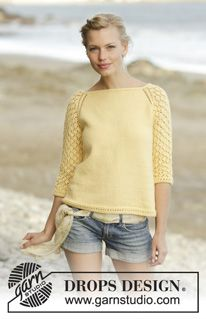 Honey Blossom Cardigan / DROPS 176-9 - Knitted jacket with lace pattern and lace edge, worked top down with ¾ length sleeves in DROPS Merino Extra Fine. Sizes S - XXXL. - Free pattern by DROPS Design