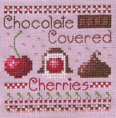 Chocolate covered cherries cross stitch pattern