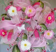 Spring Deco Mesh Wreath by ArtificialWreaths on Etsy, $75.00