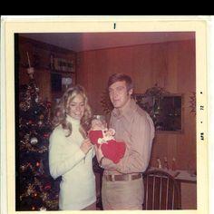 Danna as Santa with Lee & Farrah Fawcett Majors. 1971. Middlesboro, KY