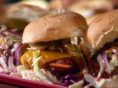 Brooklyn Chili Burgers with Smoky Barbecue Sauce with Oil and Vinegar Slaw from FoodNetwork.com (For a Fence building BBQ)