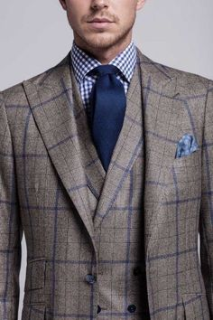 10 Patterns Every Gentleman Should Know About Brown windowpane suit with navy highlights paired with navy tie and gingham dress shirt. Mens Fashion Blog, Mens Fashion Suits, Mens Suits, Men's Fashion, Fashion Styles, Fashion Clothes, Fashion Outfits, Sharp Dressed Man, Well Dressed Men