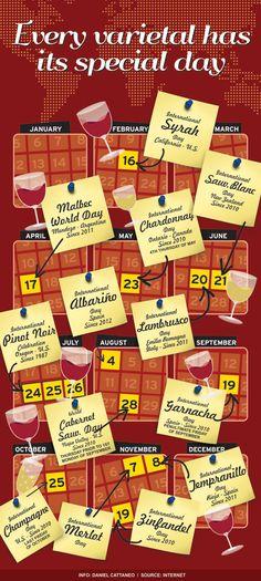 O calendário do Vinho. Cada vinho tem seu dia especial! ^^
