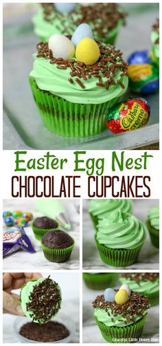 Easter Egg Nest Cupcakes - Graceful Little Honey Bee Try these quick and easy Easter Egg Nest Chocolate Cupcakes for a fun treat that the kids can help make! Find the recipe at gracefullittlehon. Hot Cross Bun, Easter Cupcakes, Yummy Cupcakes, Bee Cupcakes, Cupcake Recipes, Snack Recipes, Dessert Recipes, Vegan Recipes, Chocolate Cupcakes