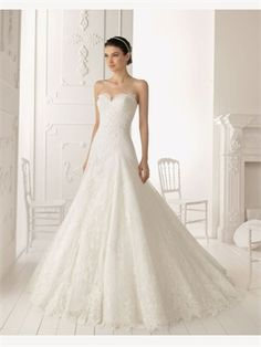 White A Line Sweetheart Lace 2014 Wedding Dresses AWD030255