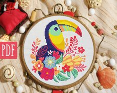 Modern cross stitch pattern point de croix floral flower toucan bird punto de cruz embroidery hoop a Cute Cross Stitch, Cross Stitch Bird, Cross Stitch Animals, Cross Stitching, Cross Stitch Embroidery, Embroidery Patterns, Techniques Couture, Modern Cross Stitch Patterns, Blackwork