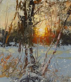 """Charles Warren Mundy - America / Indianapolis (born Impressionist painter """"Sunrise, My Backyard"""" Detail Painting Snow, Winter Painting, Winter Art, Seascape Paintings, Landscape Paintings, Watercolor Trees, Nocturne, Beautiful Paintings, Abstract Landscape"""
