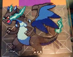 Just finished my Mega Charizard X. : beadsprites