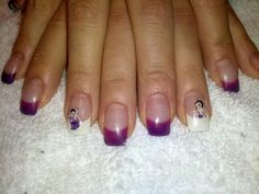 Gel nails heat sensitive purple and Betty Boop stickers!