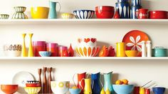 Enamelware collection of illustrator Lisa Congdon- Catherineholm Cute Kitchen, Vintage Kitchen, Vintage Dishes, Kitchen Stuff, Happy Kitchen, Kitchen Dishes, Vintage Enamelware, Home And Deco, Kitchen Shelves