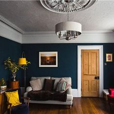 The living room color schemes to give the impression of more colorful living. Find pretty living room color scheme ideas that speak your personality. Dark Living Rooms, Living Room Paint, New Living Room, Home And Living, Living Room Decor, Small Living, Dado Rail Living Room, Farrow And Ball Living Room, Dining Room