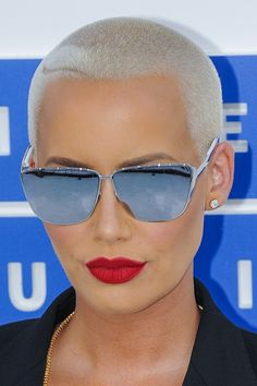 30 Celebrity Buzz Cut Hairstyles | Page 2 of 3 | Steal Her Style | Page 2 #femininebuzz Buzz Cut Hairstyles, Dance Hairstyles, Curled Hairstyles, Cool Hairstyles, Amber Rose Style, Amber Rose Hair, Shaved Head Women, Girls With Shaved Heads, Super Short Hair