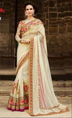 Designer White Embroidery Work Georgette Designer Saree With White Georgette Blouse Fabric