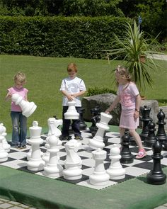 Kettler Large Lawn Chess Pieces-they also make checker sets and the 'board' to put them all on. Sold by Rue lala and Toys r Us