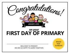 First Day of Primary Certificate
