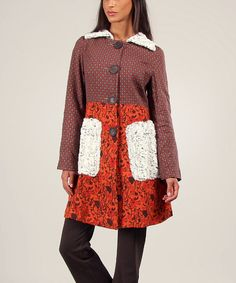 Another great find on #zulily! Red & Ecru Floral Tulipe Jacket by Ian Mosh #zulilyfinds