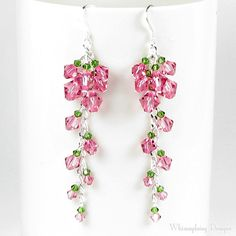 Cascading Tea Rose Crystal Earrings.