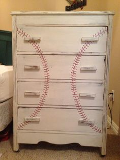 Turned an old dresser into a great piece for a boys baseball room.