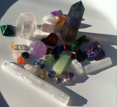 Healing Crystal Stone Tower Bundle Pack on Mercari Wicca, Magick, Witchcraft, Crystals And Gemstones, Stones And Crystals, Crystal Room, Witch Room, Crystal Aesthetic, Good Vibes Only