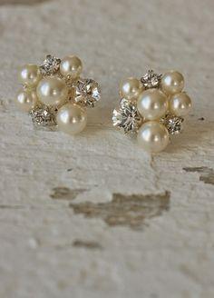 Art Deco Inspired Earrings - hand beaded Swarovski crystals, Swarovski pearls. Handmade in the USA
