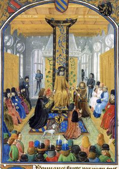 Charles the Bold presides over his court, 1475. Miniature possibly by Philippe de Mazerolles. From Military Ordinance of Charles the Bold, British Library, Add. Ms. 36619, fol 5. Installation of Charles's military captains: seated on his right, knights of the Order of the Golden Fleece; on his left, lay and clerical members of his council. 20 unarmed captains stand in the foreground, facing the duke. In the middle, two more captains receive copies of the ordinances, and another his baton.