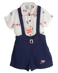 printed rayon shirt and embroidered overall shorts. NOS vintage by Collie  Togs. Boy's 3. Vintage Kids FashionVintage ClothingOverall ...