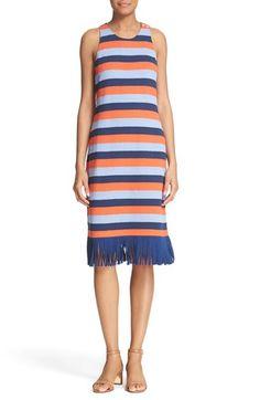 Tory Burch 'Walden' Fringe Trim Stripe Racerback Dress