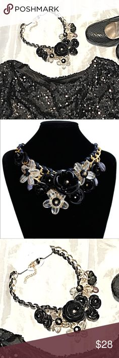 NEW Flower Chunky Black Clear Chain Cord Necklace Flower Chunky Black Metal Clear Chain Cord Statement Necklace. Even prettier in person. New in package. Jewelry Necklaces