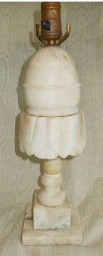 Marble Vintage Antique Lamp Massive Grecian Carved Skirted Large Scale Carving