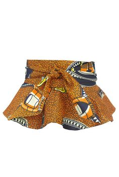 African Print Wrap Peplum Belt - Orange