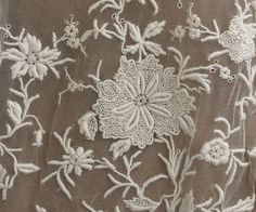 1920s This lace panel is beautiful, but the dress as a whole is odd. The sleeves are of a different, very crude lace.