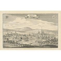 Gelnhausen, Barbarossastadt Büdinger Wald, Hessen, Kupferstich, Fototapete Merian