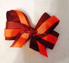 New Handmade Ribbon  Hair Bows Clips Brown Orange  Accessories Harrbows